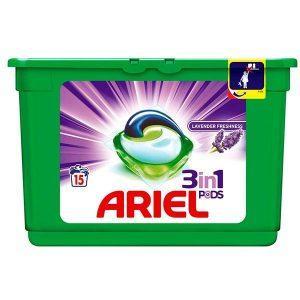 Detergent rufe, Ariel 3 in 1, Capsule, Lavanda, 15buc, 405g