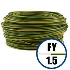 Conductor FY 1.5 - 100 M - GALBEN / VERDE - Cablu curent cupru plin - H07V-U