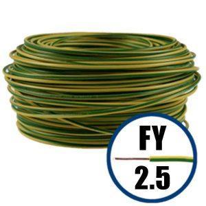 Conductor FY 2.5 - 100 M - GALBEN / VERDE - Cablu curent cupru plin - H07V-U