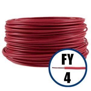 Conductor FY 4 - 100 M - ROSU - Cablu curent cupru plin - H07V-U