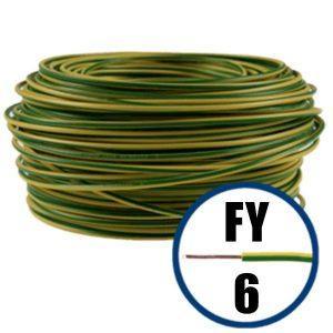 Conductor FY 6 - 100 M - GALBEN / VERDE - Cablu curent cupru plin - H07V-U