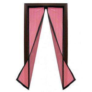 Plasa insecte, inchidere magnetica, roz, 190cm x 100cm